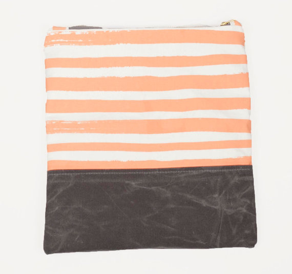 Peach stripe clutch from LondonTierney on Etsy