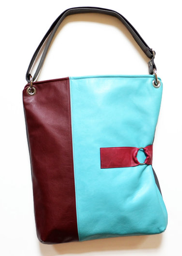 Large Leather Colorblocked Bag by Lola Falk Designs