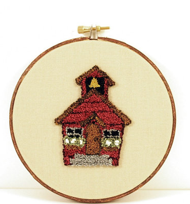 School house needlepoint  by Harp and Thistle