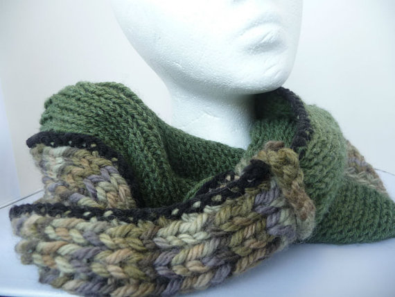 Cozy Green Infinity Scarf with a twist