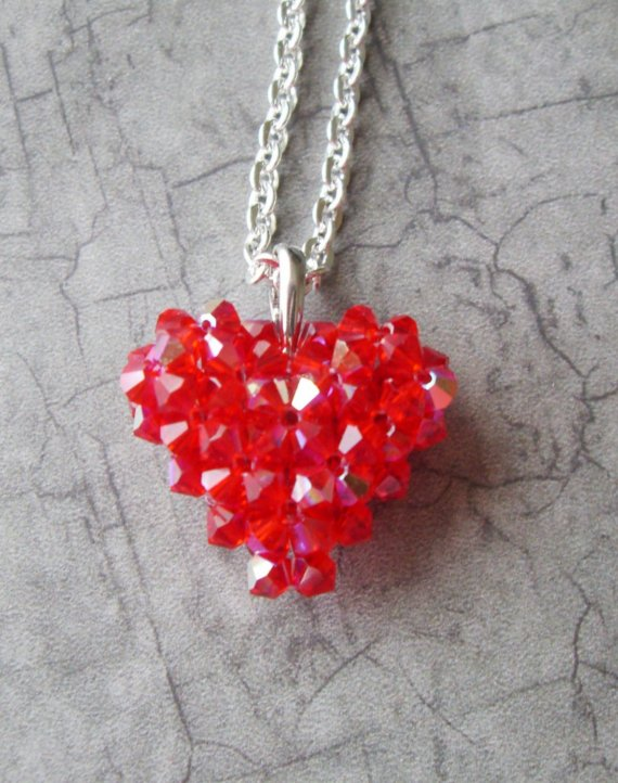 Crystal Puffy Heart in Red , $50.00 by Mulryjewels
