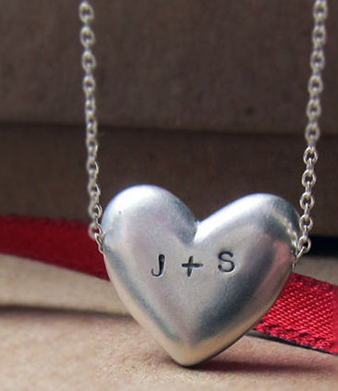 Personalized Heart Necklace by Metalicious
