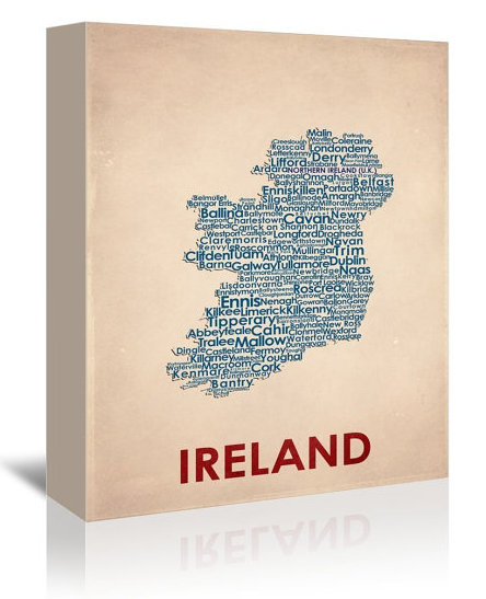 Contemporary Typography Word Map of Ireland  by Flatiron Design.