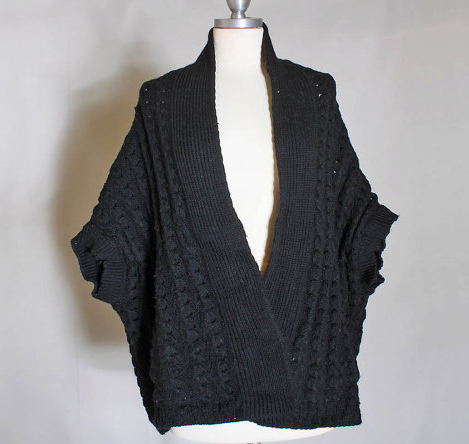 Shop Gina Michele's  black, wool,    cable knit sweater .