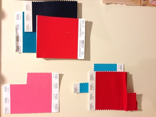 the beginning of my pantone wall.