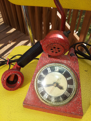 vintage clock phone lamp by vintageboxedblonde