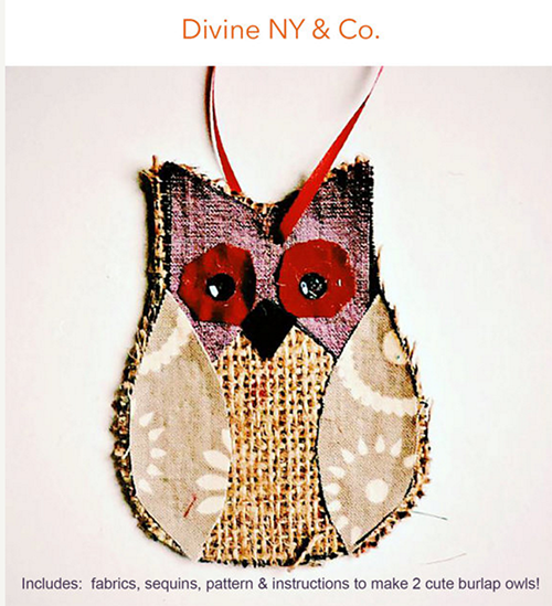 Burlap Owl DIY kit from DivineNY