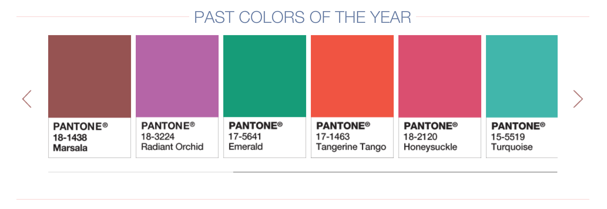 Past colors of the year from Pantone