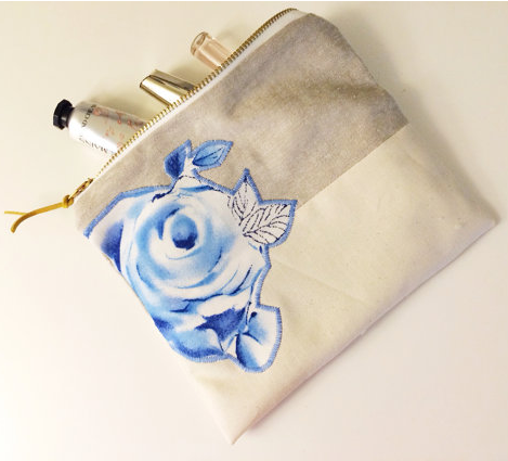 Blue Rose Linen Makeup Bag by   Chubby ABC