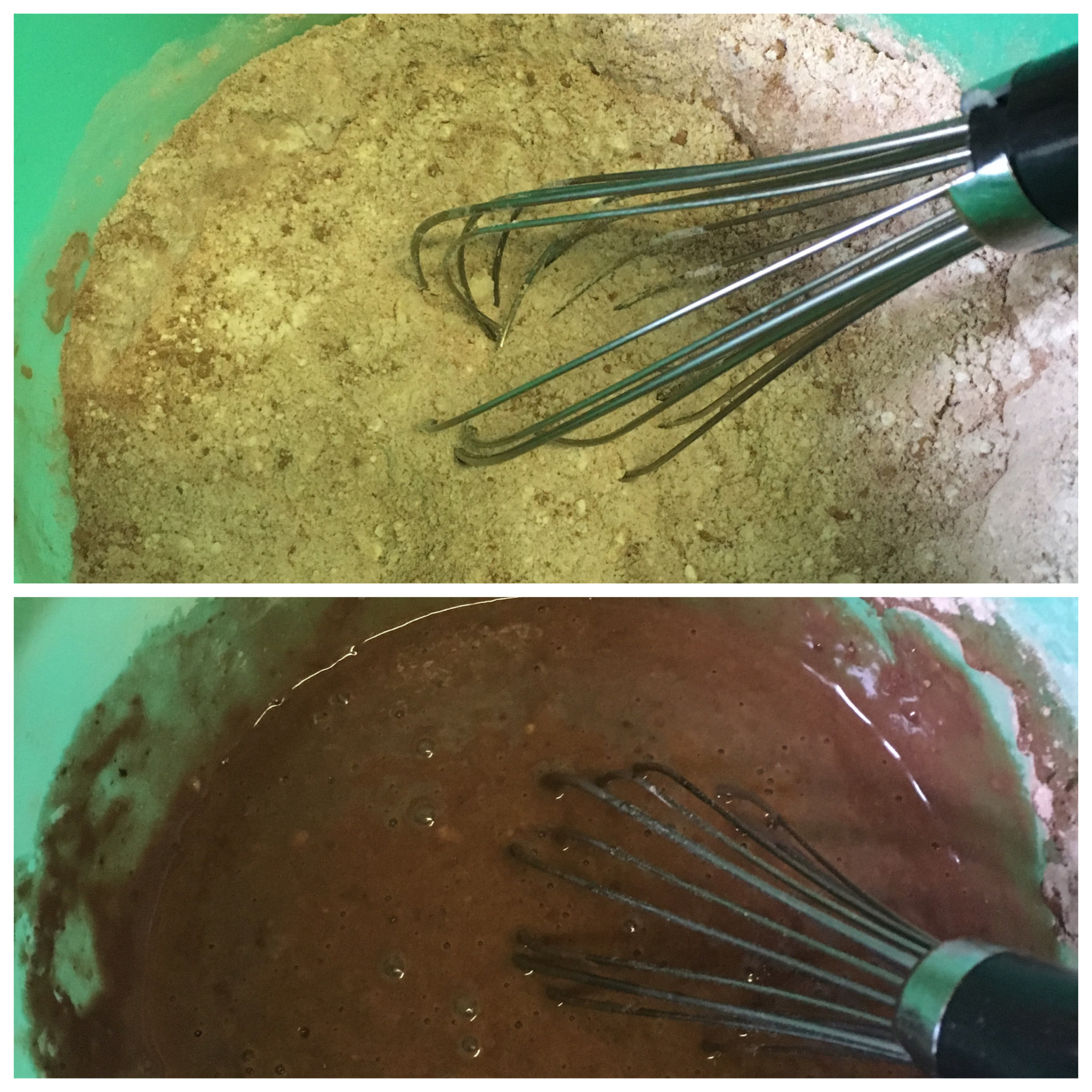 Top: All your Dry Ingredients Mixed; Bottom: After Wet Ingredients have been added