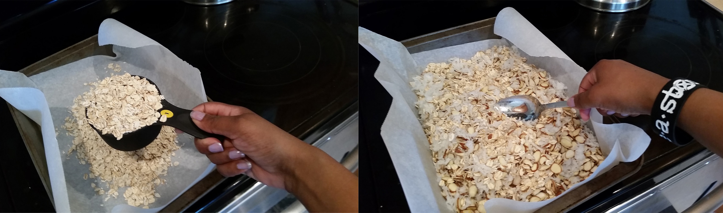 3. Measure out your oats, nuts and coconut flake right onto your parchment & gently mix them together.