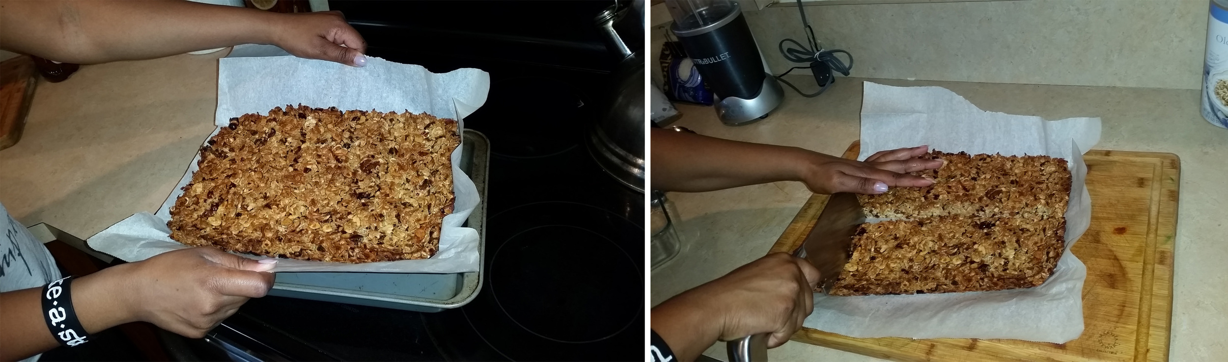 11. Remove from oven and let cool for at least an hour (The hardest part in my opinion). When that timer goes off, lift the parchment straight up and place your granola on a sturdy cutting board. With a nice sharp knife cut into bars or smaller squares for mini snacks.