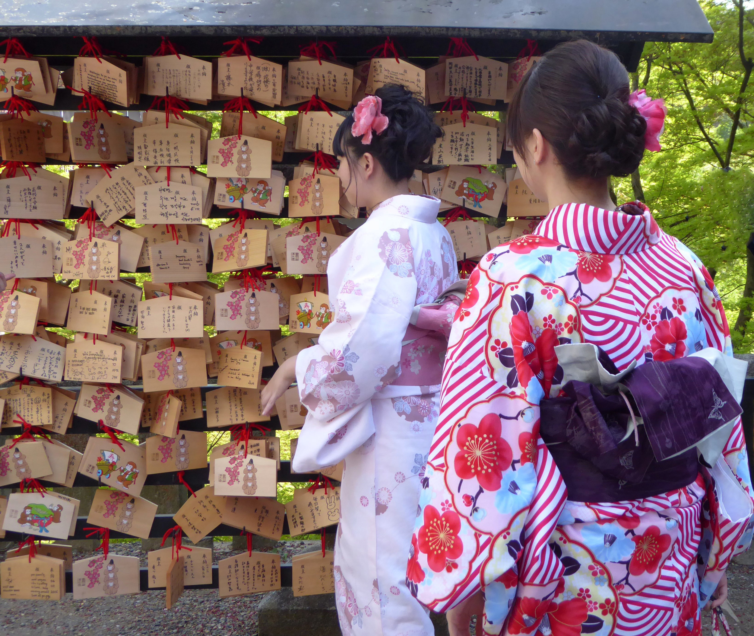 In Kyoto, traditional dress is much more common than in Tokyo. Visitors even rent kimonos for the day so they can visit shrines in traditional garb.