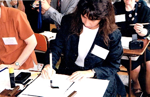 Experiencing calligraphy for the first time, twenty years ago in Japan.