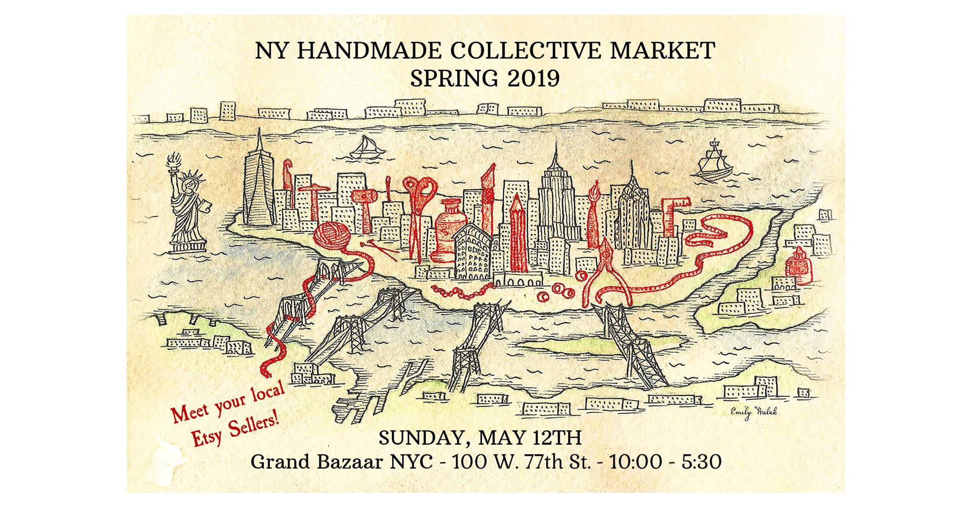 NY Handmade Collective Market Spring 2019 - This spring, the NY Handmade Collective is excited to present the first edition of our new and improved twice-yearly partnership with Grand Bazaar NYC. More than 40 of our maker members will be there to offer you the chance to shop directly from their latest and greatest creations, many of which get scooped up before they ever make it to our Etsy stores.Sunday May 12th, 10am-5:30pmGrand Bazaar NYC, 100 W 77th St, New York, New York 10024
