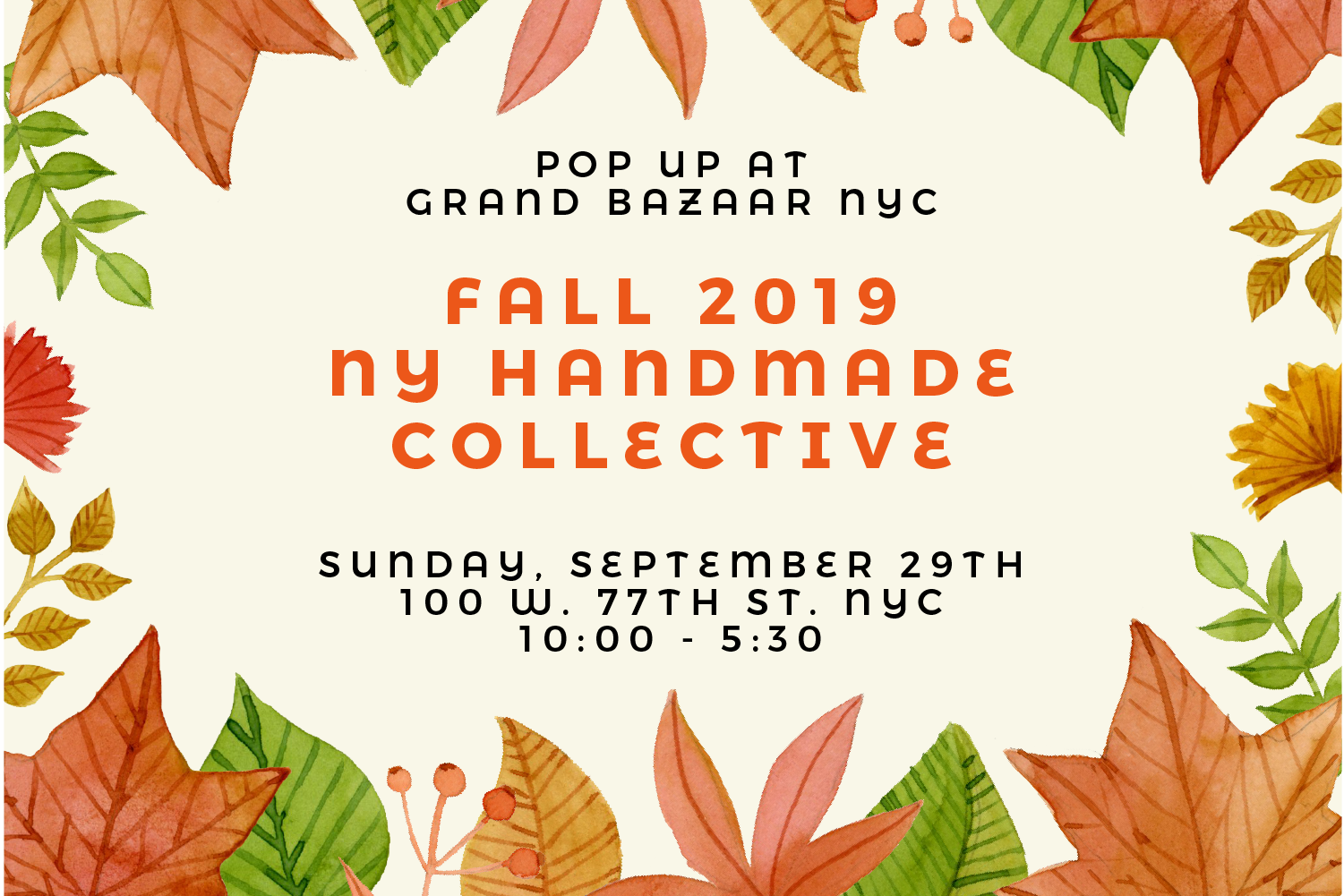 NY Handmade Collective Pop-up - Fall - Meet in-person and shop directly form 40 of the best makers of NY Handmade Collective. These multi-talented artisans will be joining the 150+ vendors of the Grand Bazaar NYC Find creative craftsmanship and pure talent at full display! Take this opportunity to connect with these gifted Esty sellers, hear their stories and shop a few amazing pieces.Sunday September 29th, 10am-5:30pmGrand Bazaar NYC, 100 W 77th St, New York, New York 10024