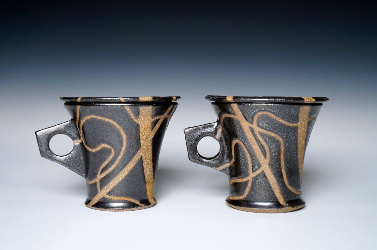 Midnight Magic, Stoneware Black Lidded Mugs , $52.00, from  Vicki Finkel Ceramics