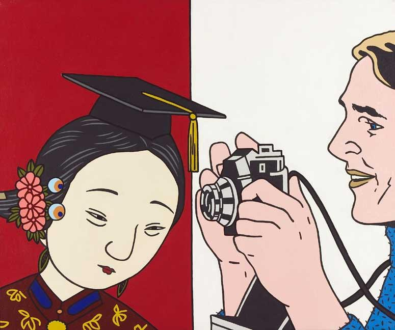 """The image was created by Roger Shimomura for """"Stereotypes and Admonitions,"""" a series of illustrations he published in 2003.  Lily Wang, a 31-year-old Chinese American computer science graduate student at North Carolina State University, was murdered on October 12, 2002 by Richard Borrelli Anderson, a white classmate who is reported to have become infatuated with her. Wang was already married (to another Chinese American), but this fact did nothing to deter Anderson's unwelcome advances, which appear to have been racially motivated. According to press reports, Anderson had confided to a friend that he liked Asian women because """"they study hard, they're very nice, and soft speaking.""""  According to police reports, Wang did nothing to cause Anderson to select her as a target other than being an Asian American woman who happened to be the innocent object of the killer's infatuation and violent nature."""