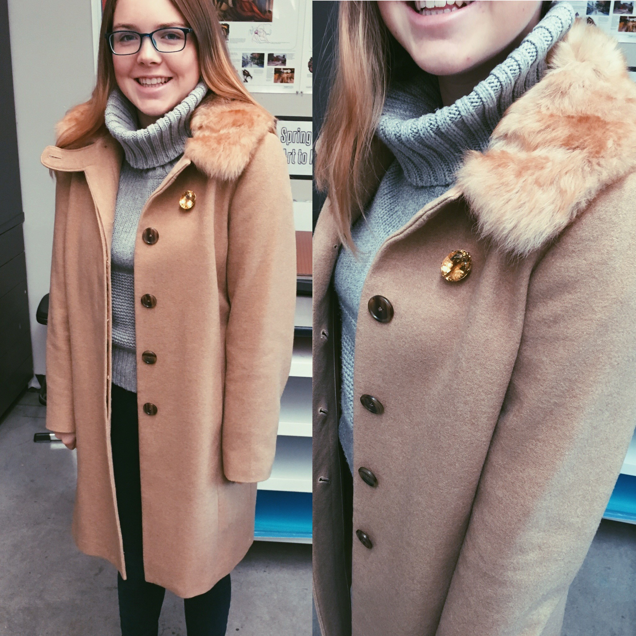 Ashley '17:  Ashley goes with a classic Banana Republic coat and Anthropologie turtleneck to brave the cold.