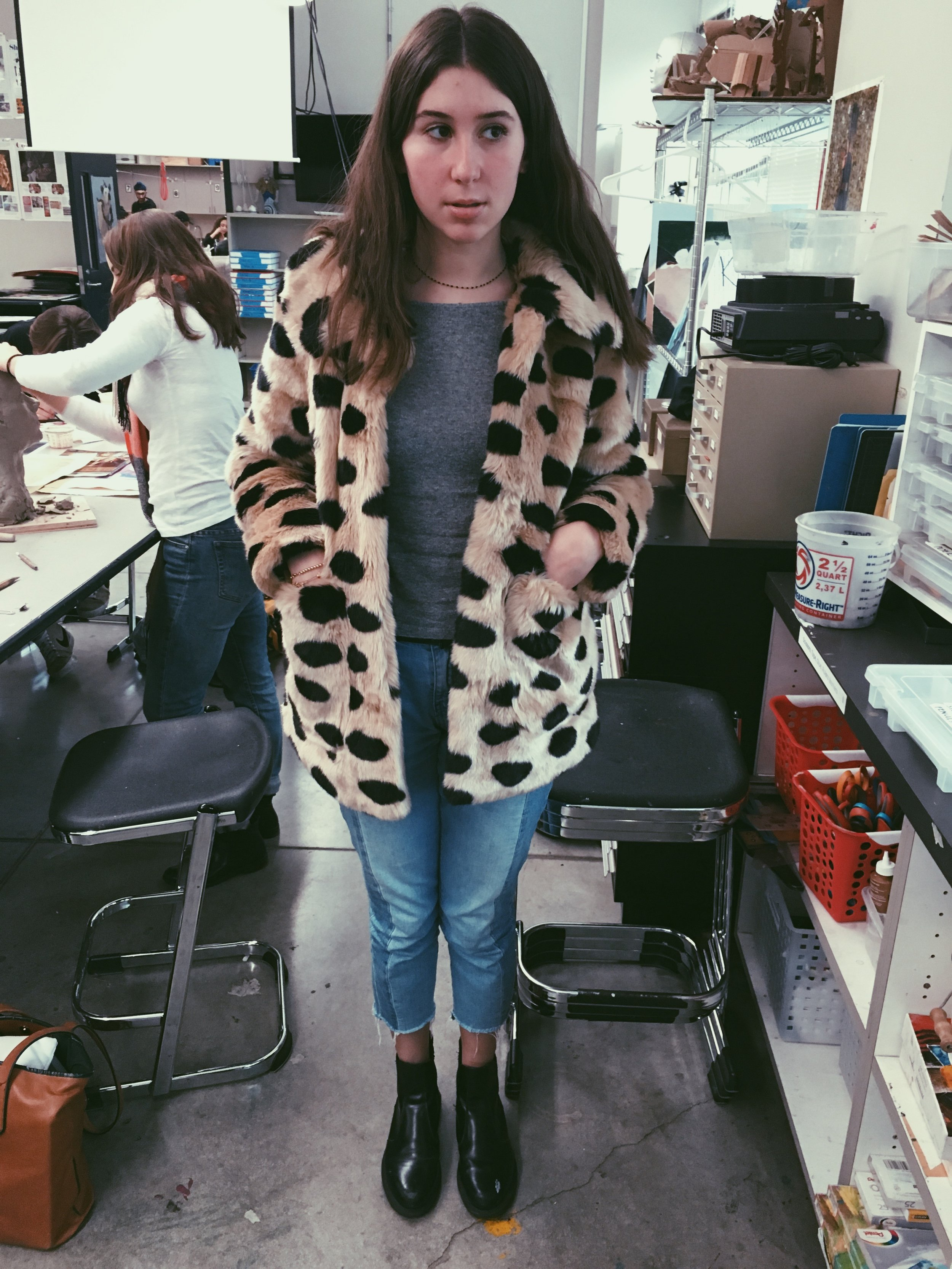 Matilde '17:    When you can't wrap up in blankets, instead go for a warm faux fur coat! Matilde likes her Jakke coat, Mango jeans, Stefanel sweater, paired with Doc Marten boots.   Très chic!