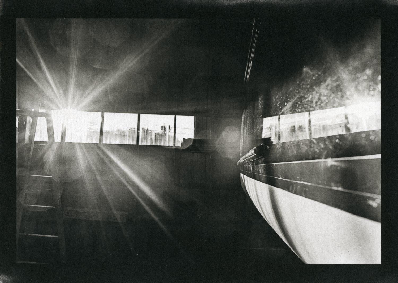 Schooner in boat yard