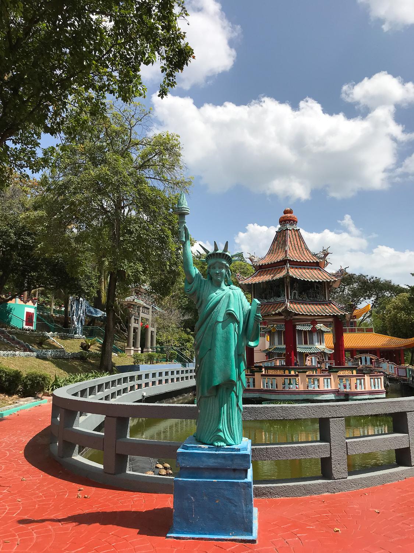 A miniature Statue of Liberty