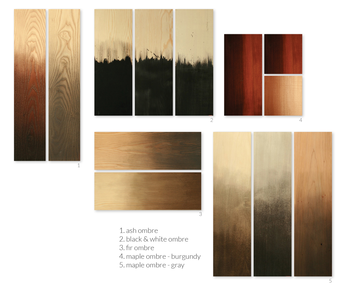 Our newest line of finishes inspired by shades of emotion. The slow fade from sight to night as the sun falls behind the Olympics. The brilliant wash of warmth when the clouds break for a few passing minutes. From delicate fades to bold shifts, our ombré finishes capture those waves of energy in washes of color.