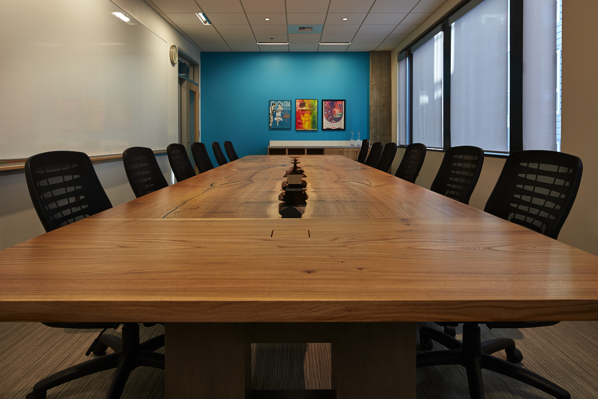inverted live edge red elm conference table