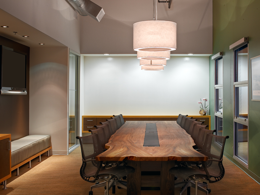 red elm live edge conference table with wood base and data