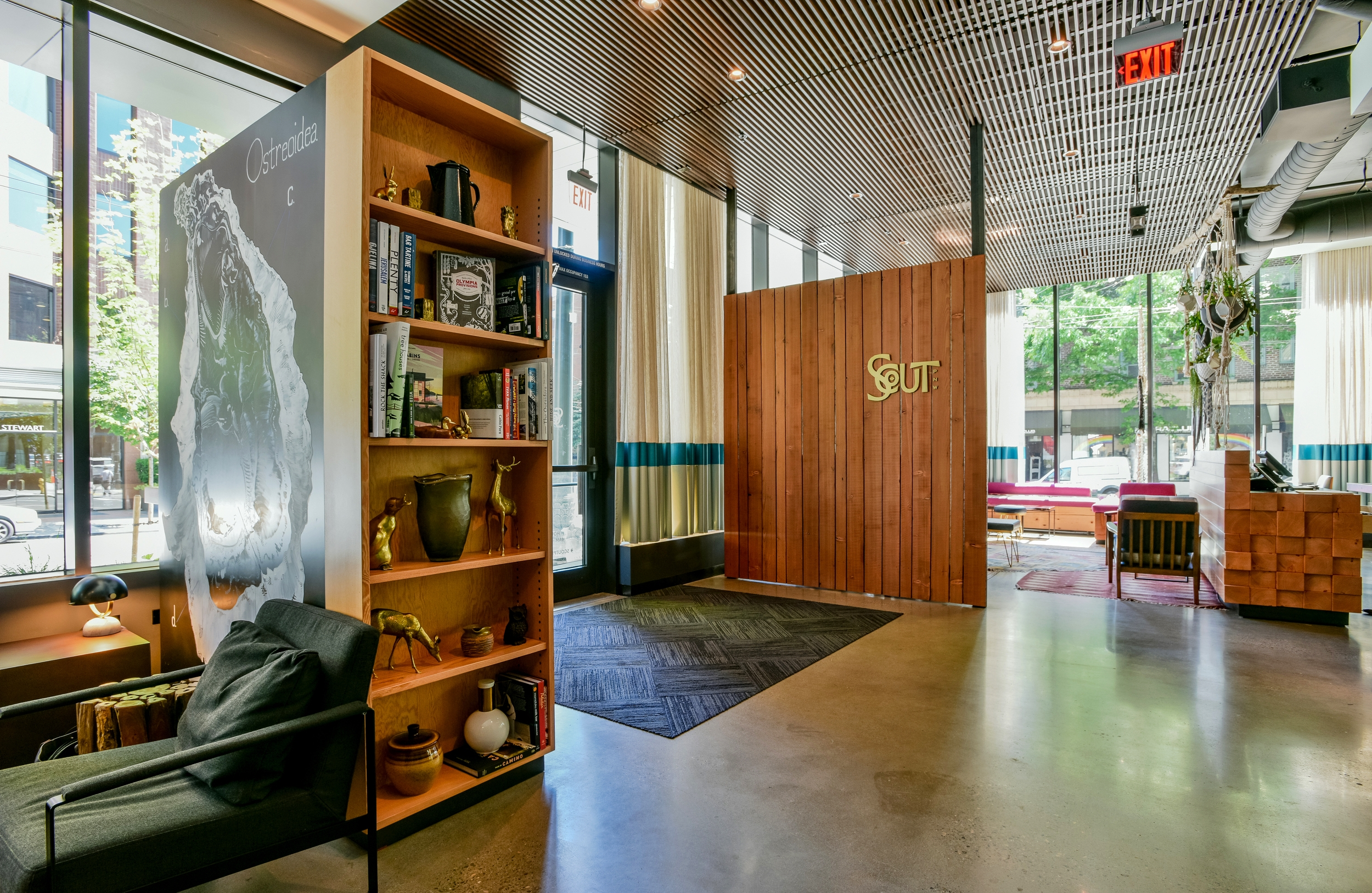 reception wall and bookcase