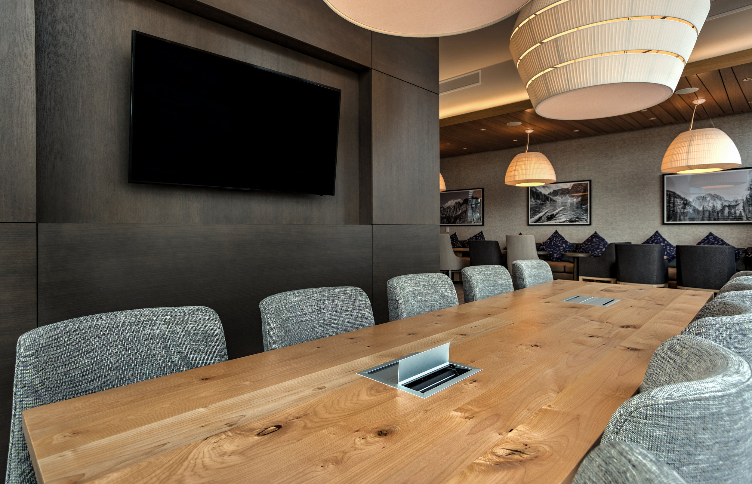 square edge maple conference table with integrated data units