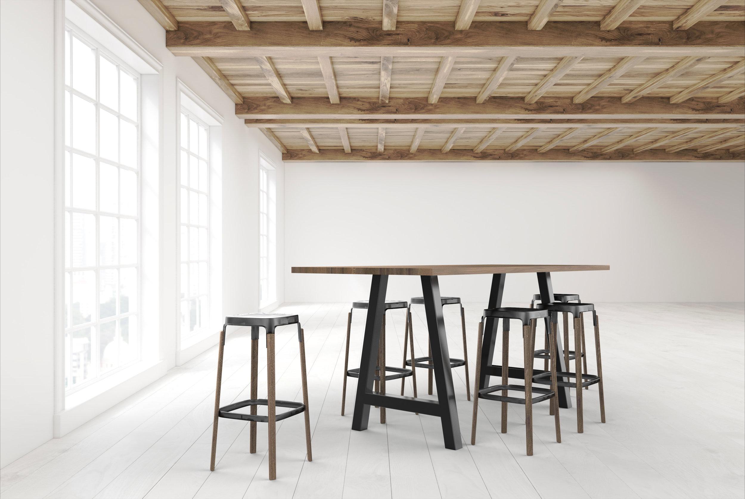 Standing height metal leg Briggs Table