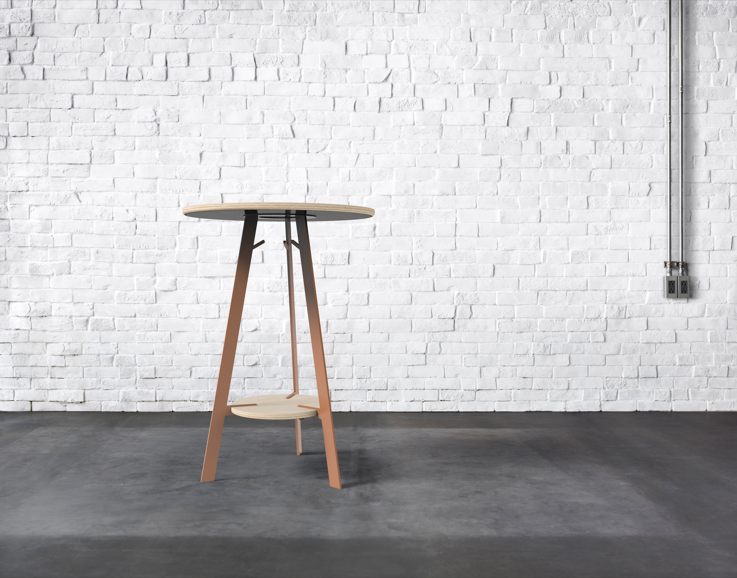 Barlow Bar Height Table in Premium Ply with Terra Cotta base