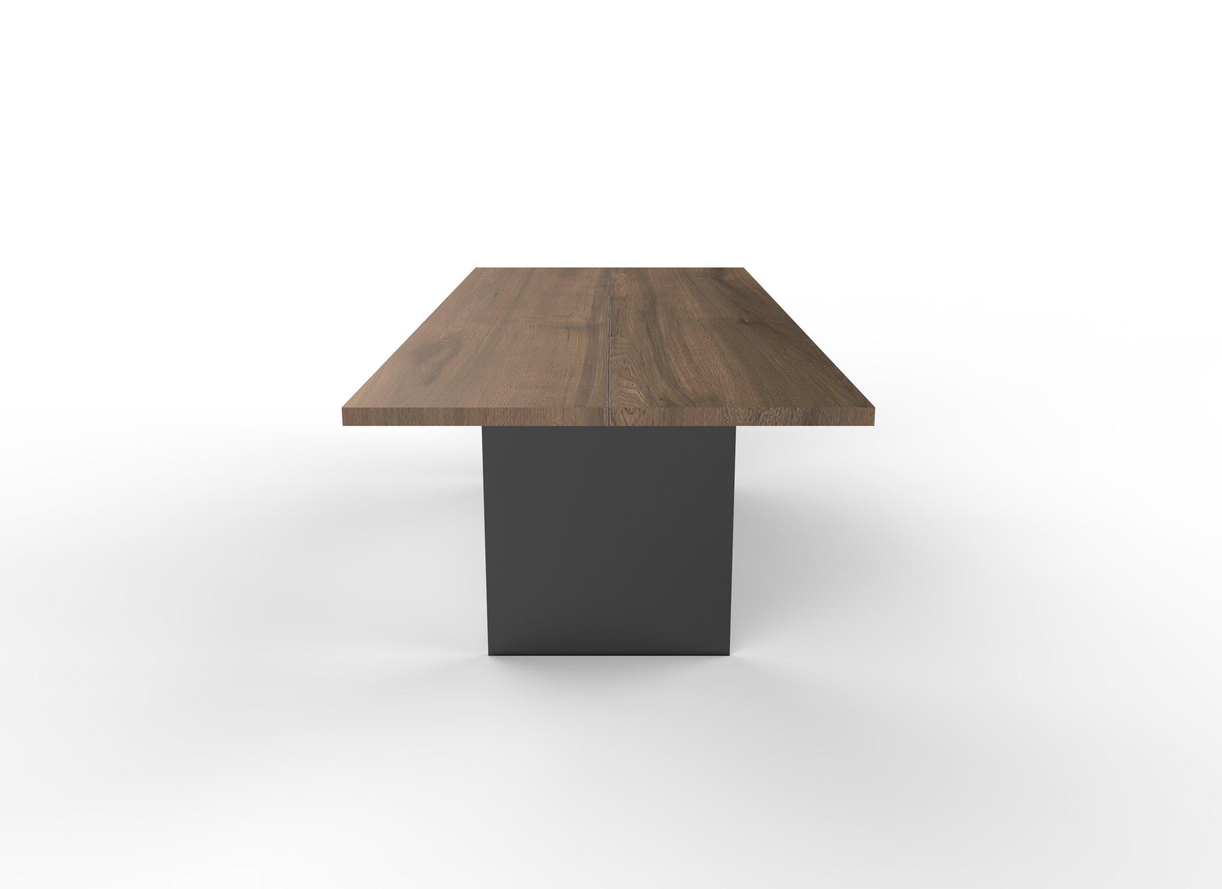 Nara square edge Walnut top in Clear, Matte Black Bronze base