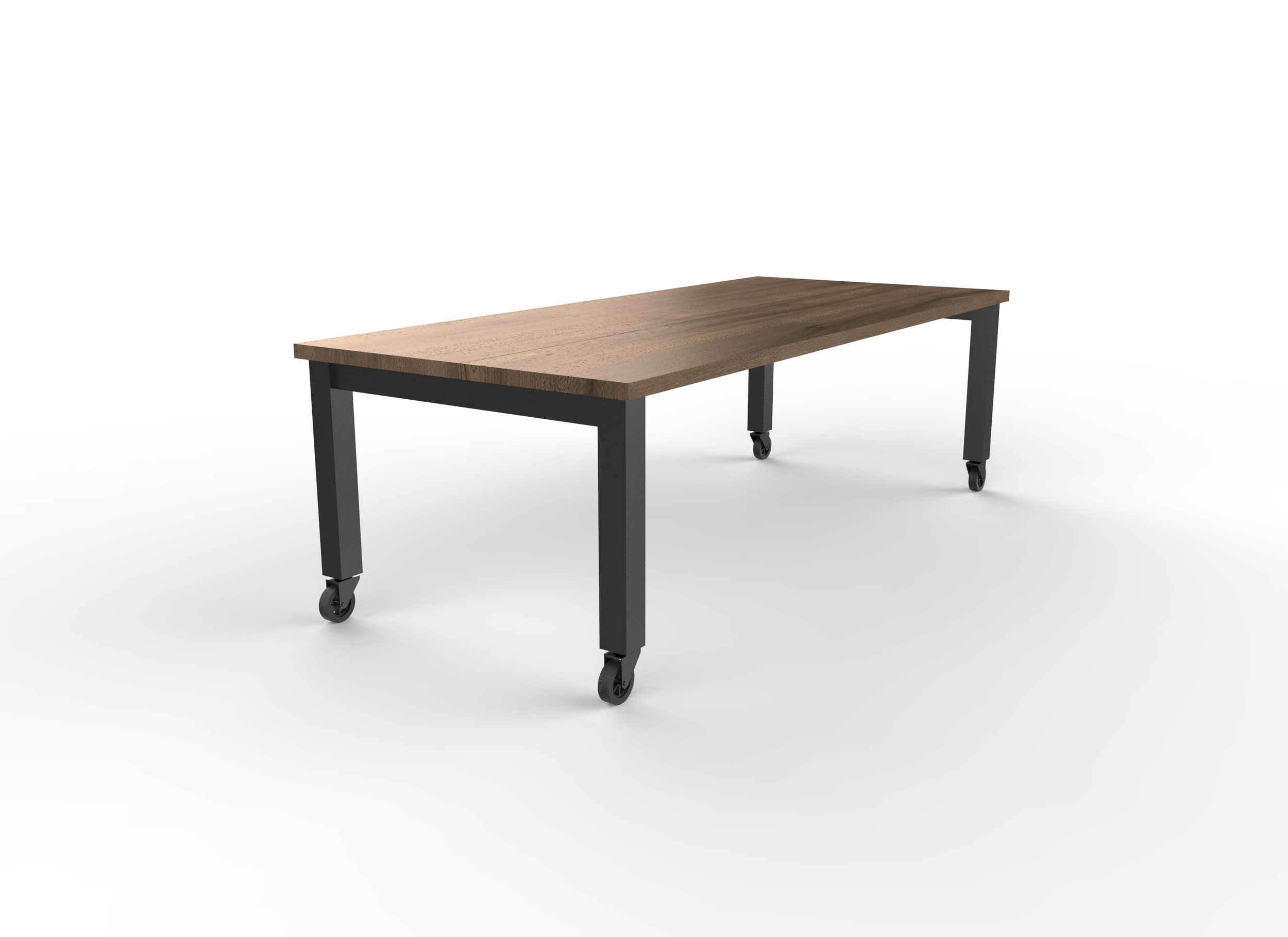 Square edge Walnut top in Clear, Matte Black base with casters