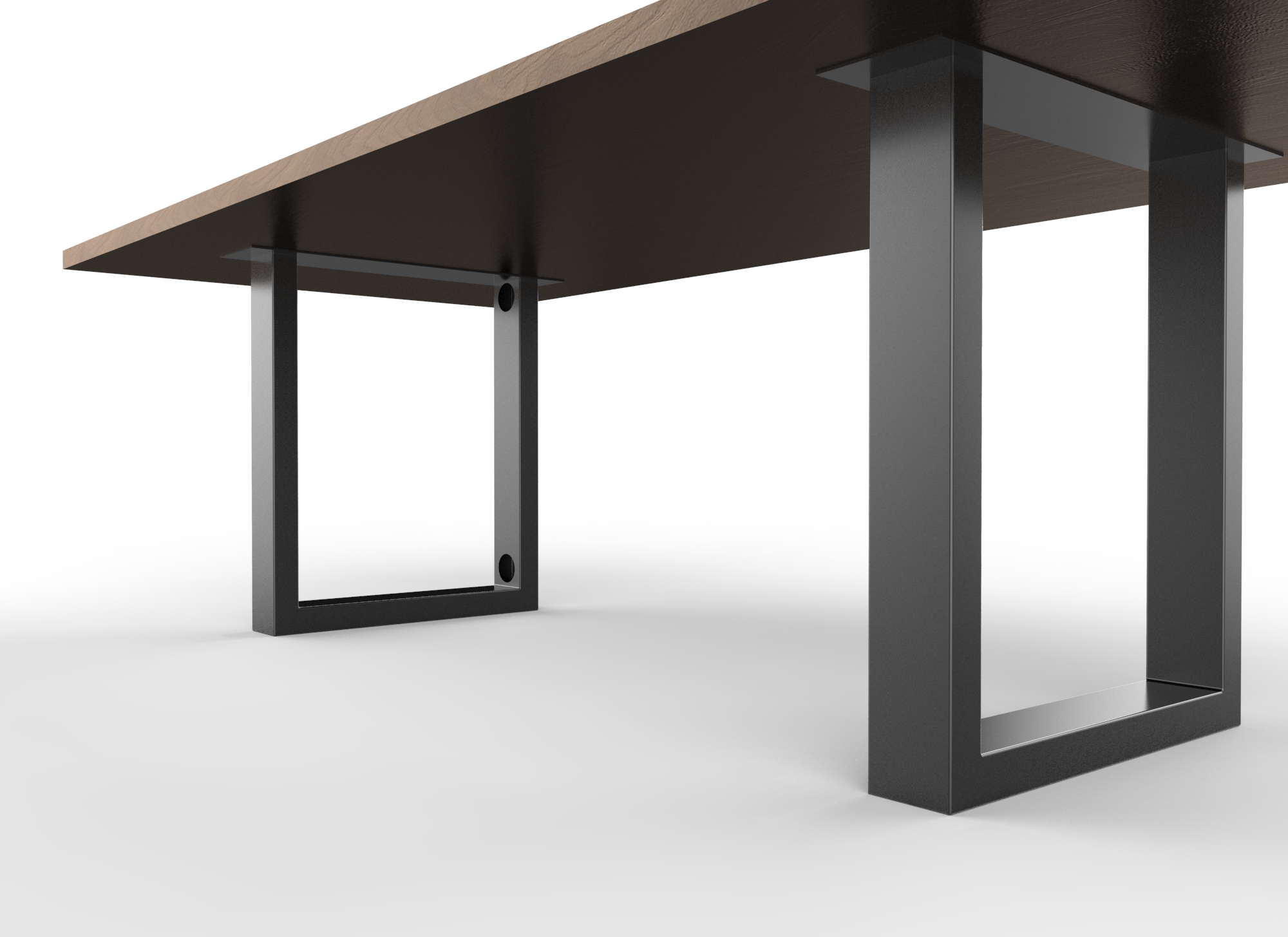 Brower table in Clear Walnut with Matte Black base with data cutouts