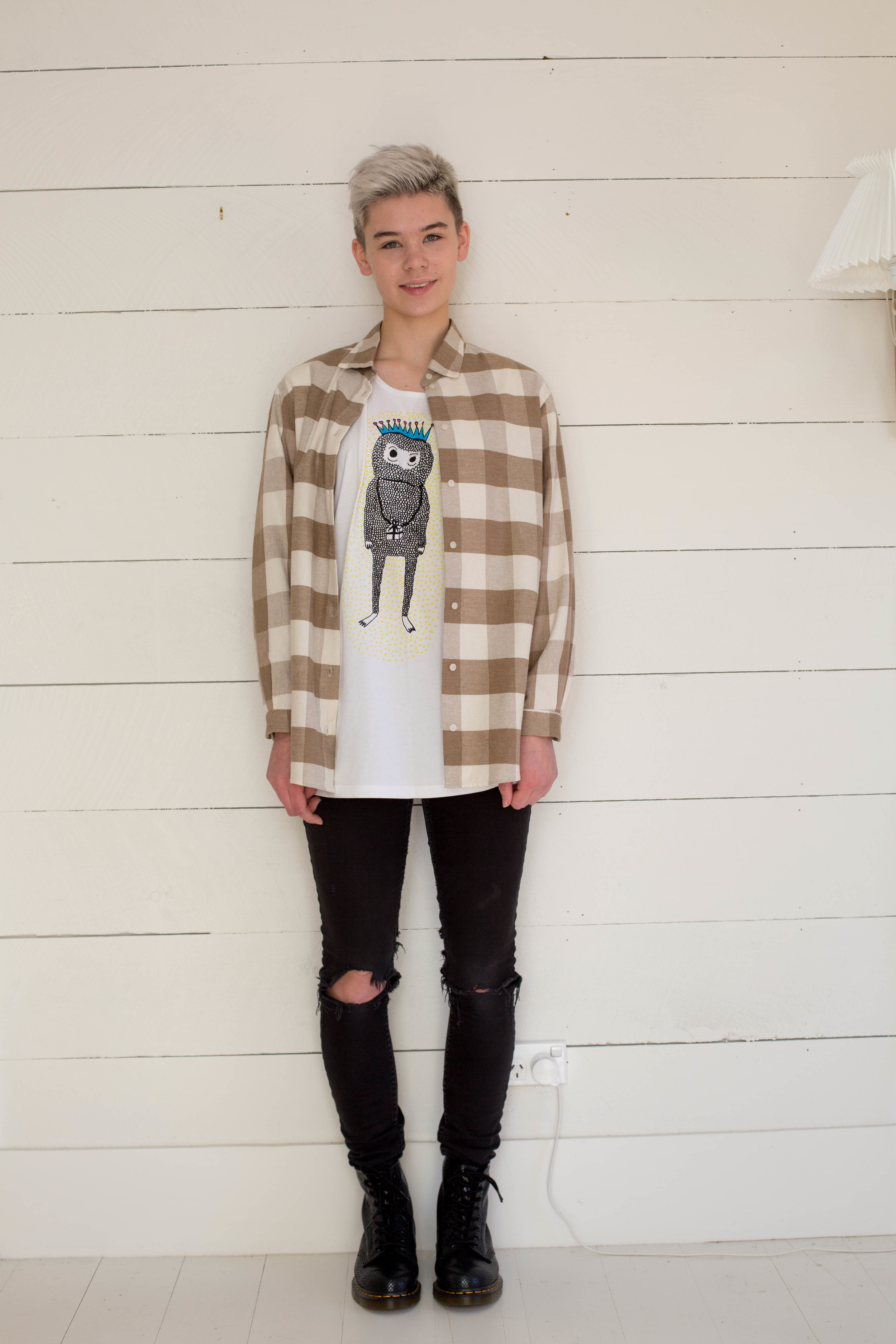 Dolly Check Shirt (oops this is from their summer) with  Kingdom of Klah  Tee
