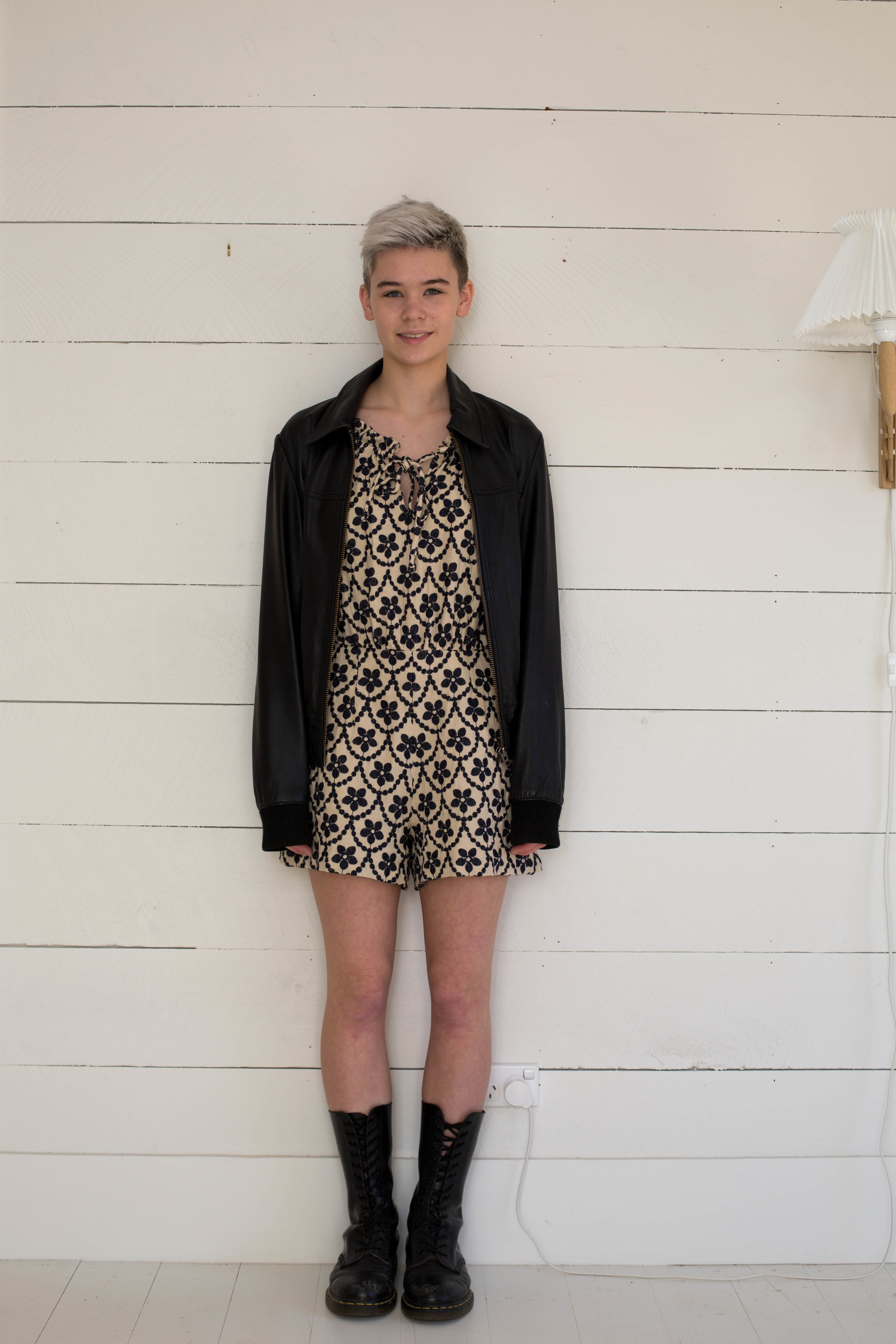 Ramona Playsuit with leather jacket from Topshop Mens