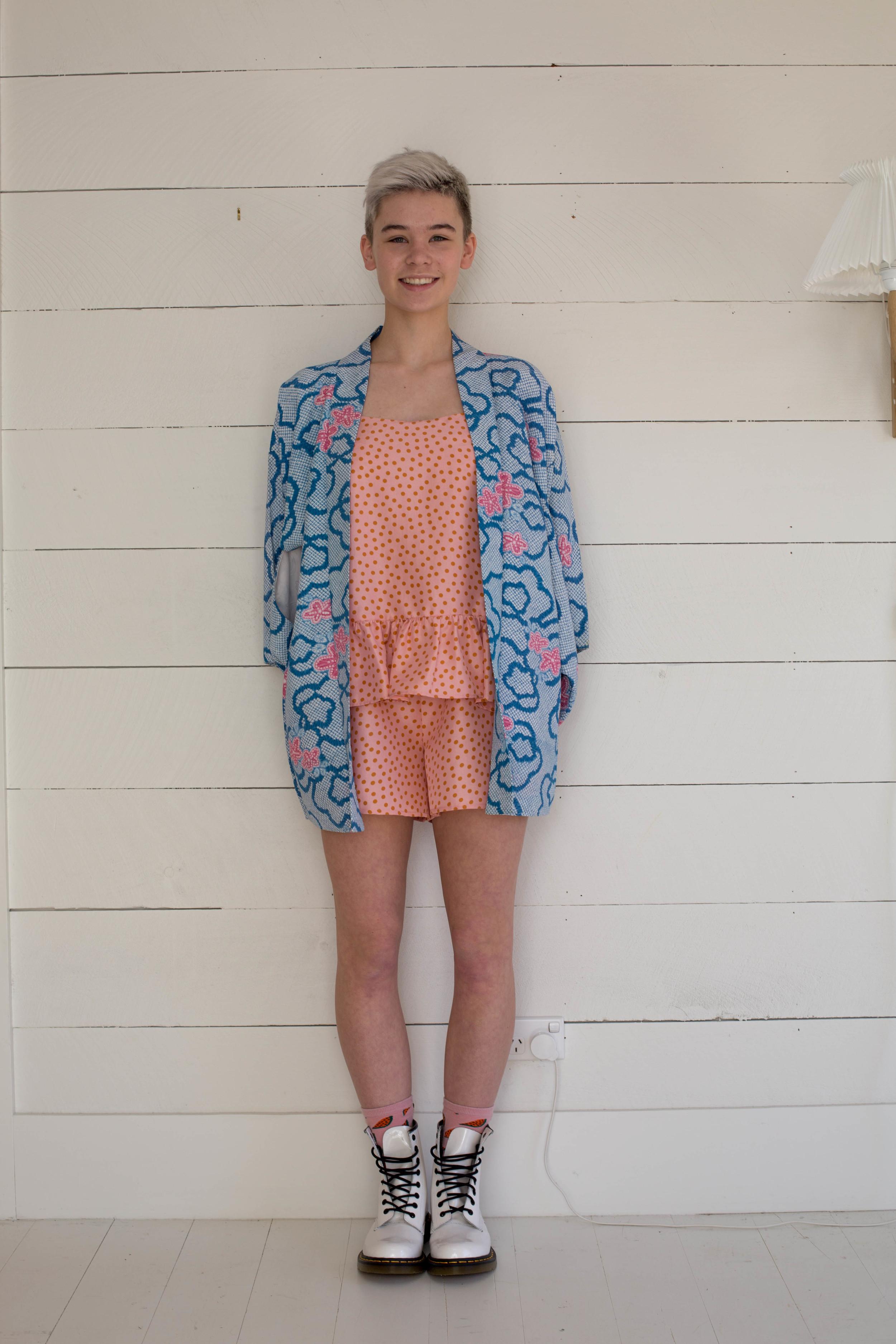 Ace Ruffle Playsuit with vintage child's Kimono