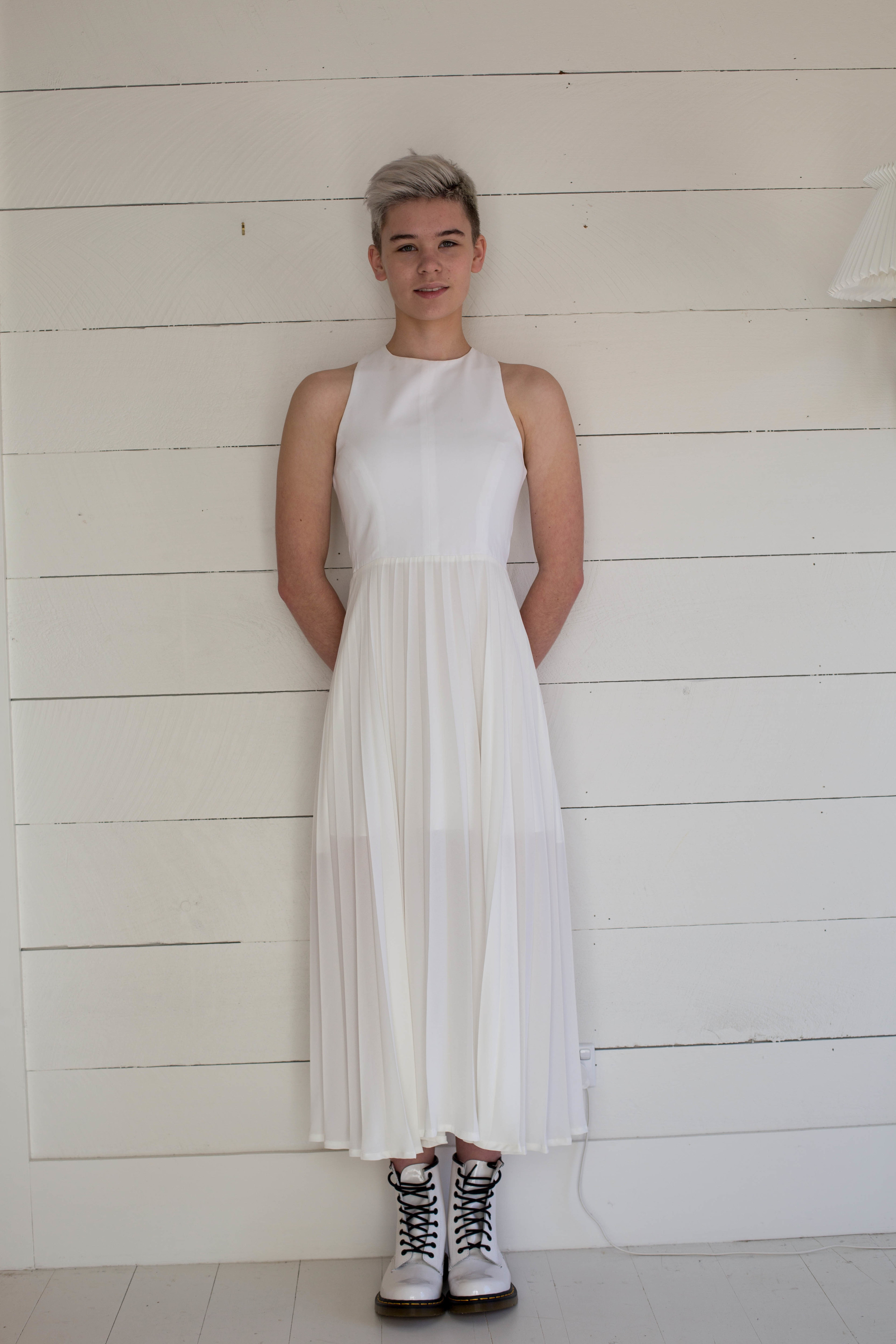 Chi Chi Gown with white Patent DMs