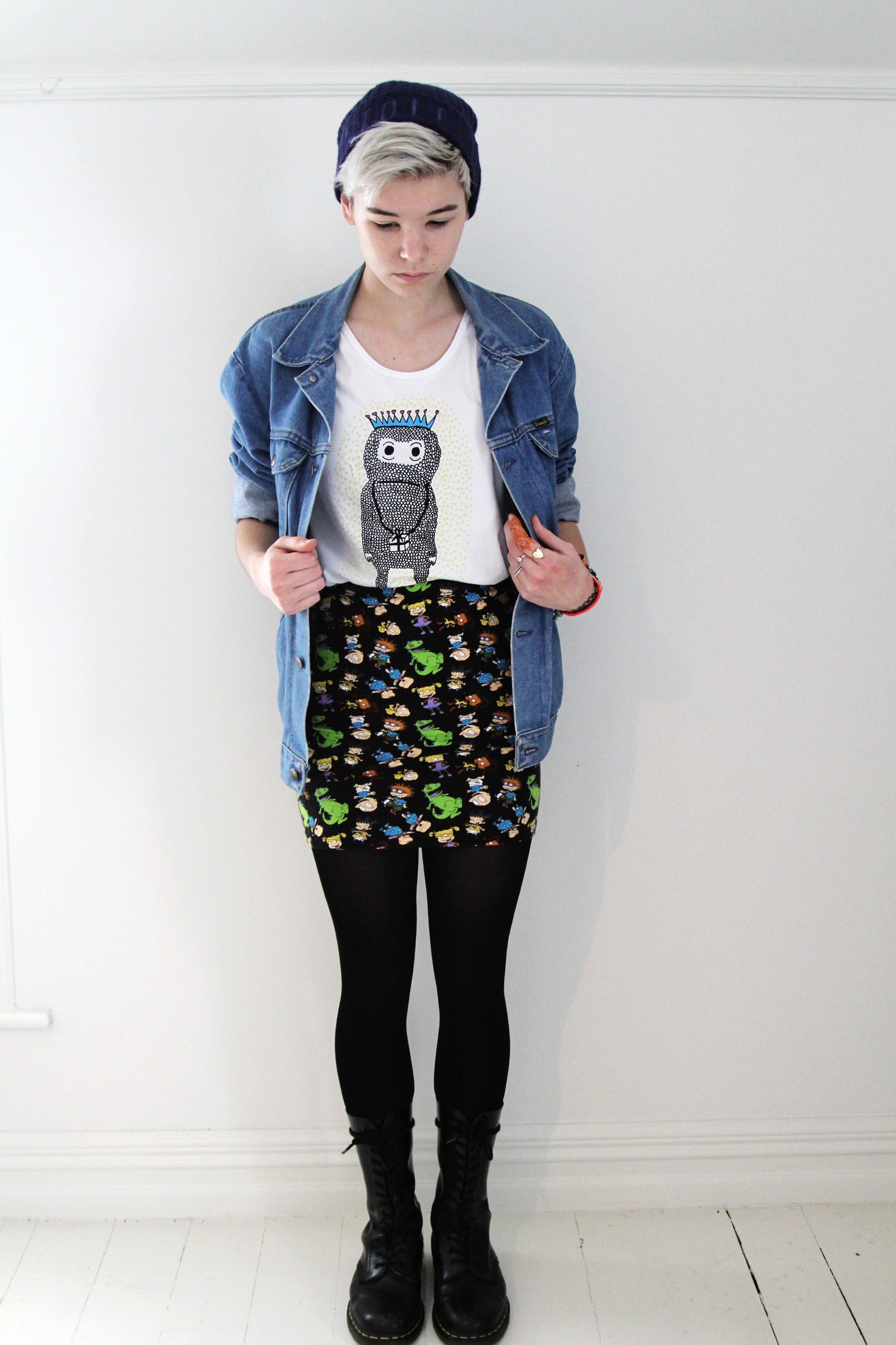 my old dr martens, a rugrats skirt, my favourite  kingdom of klah  tee (he's called the birthday monster) a denim jacket and a  stolen girlfriends club  beanie.