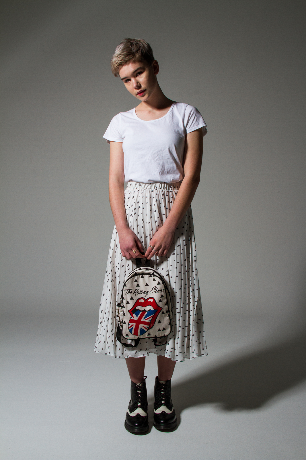 See You Later Pleat Skirt $289 with Cotton on Kids bag & Dr Martens