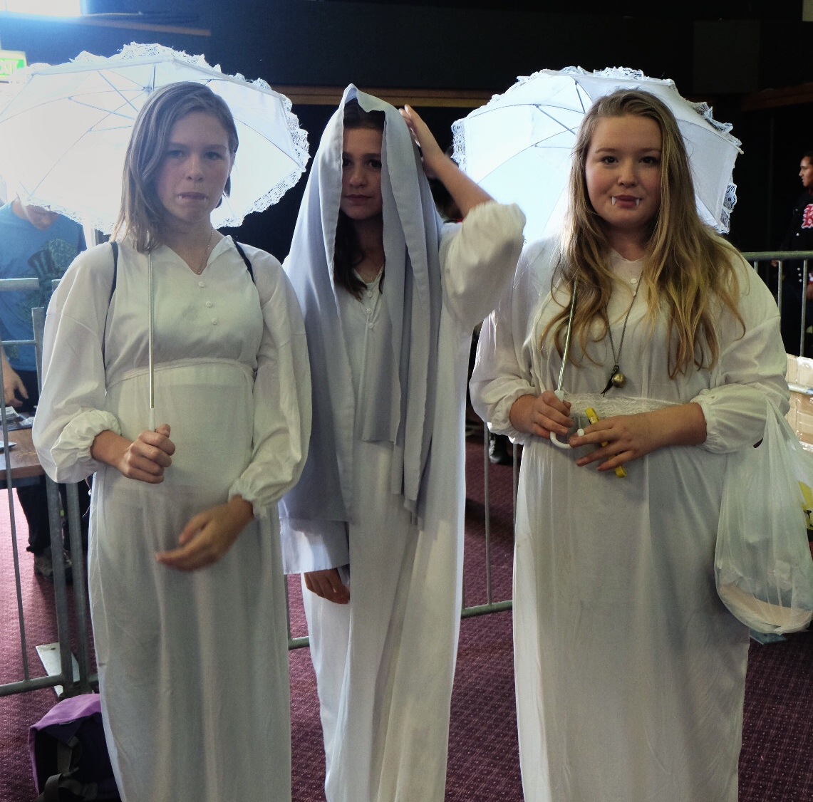 Caitlin Wisheart, Amy Wisheart and their friend Hannah Panbhuck dressed as vampires from one of the Doctor Who episodes