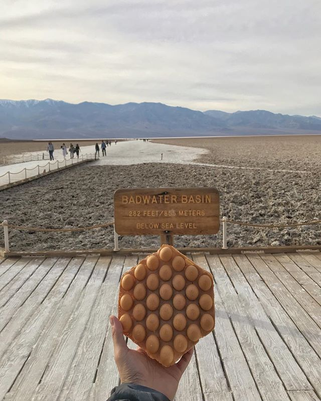 Just hanging out with my waffle friend at the lowest point in the Western Hemisphere. It was a bit disappointing to see some of the effects of the government shutdown had on this amazing national park. . . . . . #foodie#foodgasm#instafood#626#losangeles#foodiesofinstagram#bubblewaffle#bubblewaffleadventures#hongkongwaffle#waffleadventures#icecream#waffle#yummy#lafoodie#food#lafood#lagram#laeats#eatfamous#eater#outdoors#travel#photography#naturephotography#lahike#hike#travel#deathvalley#optoutside