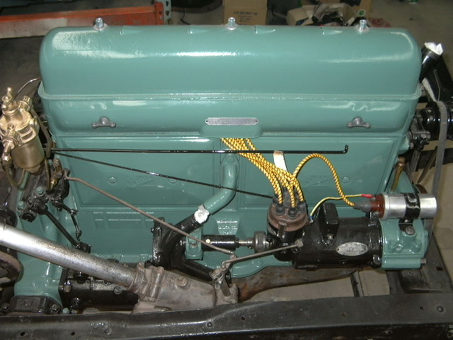 The Buick was completely stripped down to the chassis. The body sandblasted and repaired. The timber frame was repaired in some areas. The engine and running gear was completely overhauled.