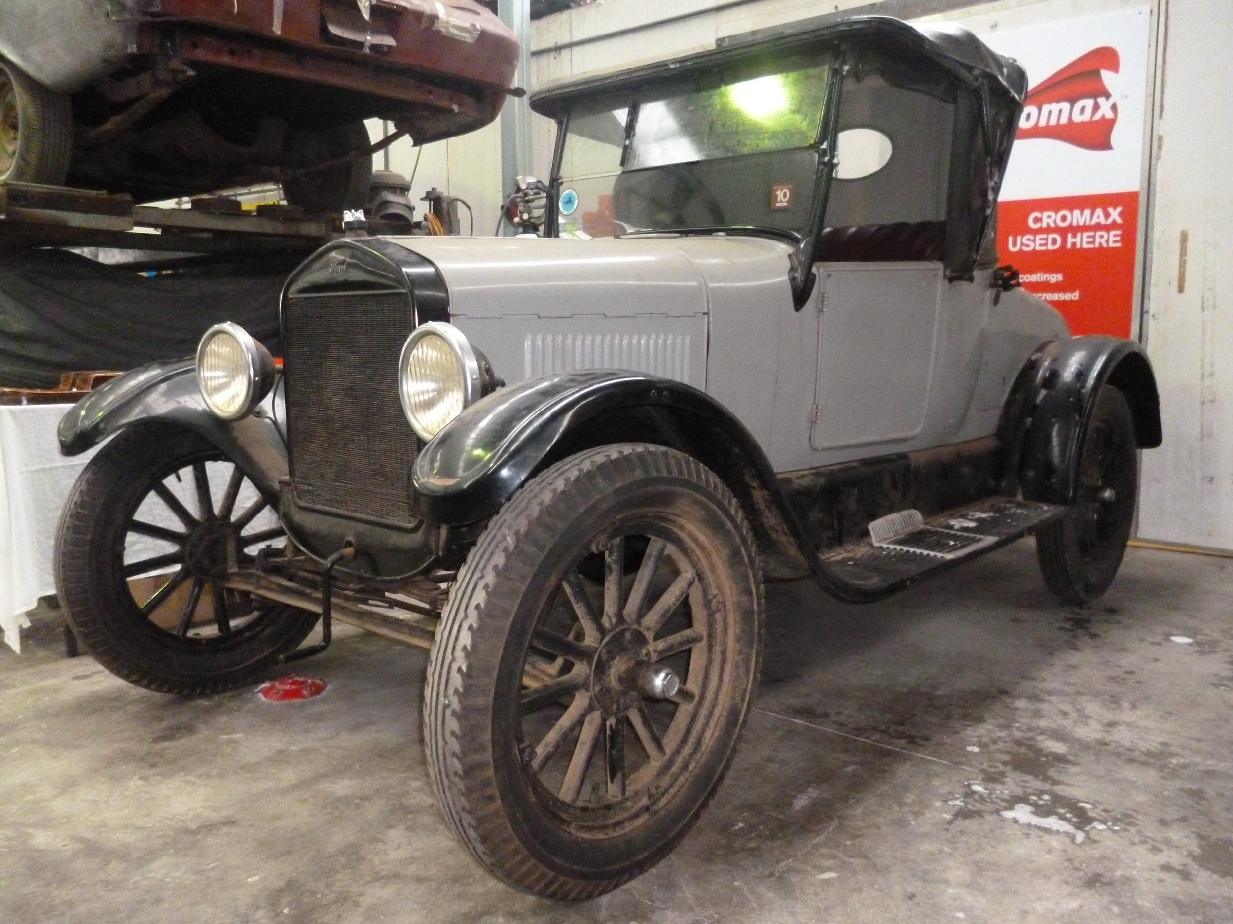 The 1927 Model T ford requires a full restoration. The body has been removed from its chassis. Once the body was removed from the chassis the steel body panels were removed from the timber frame. The body panels have been sandblasted inside and out. The chassis has been sandblasted and prepared for rebuild.