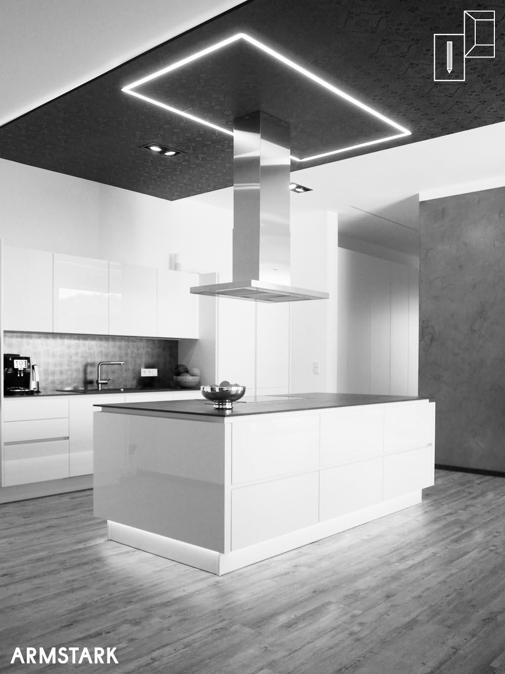 Küchenblock mit optimierter Beleuchtung