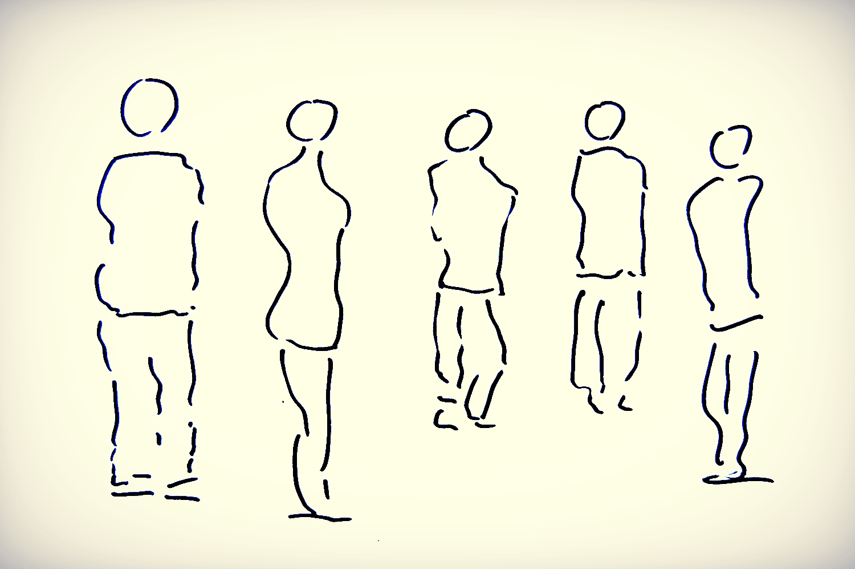 Skizze von Partnern als Figuren
