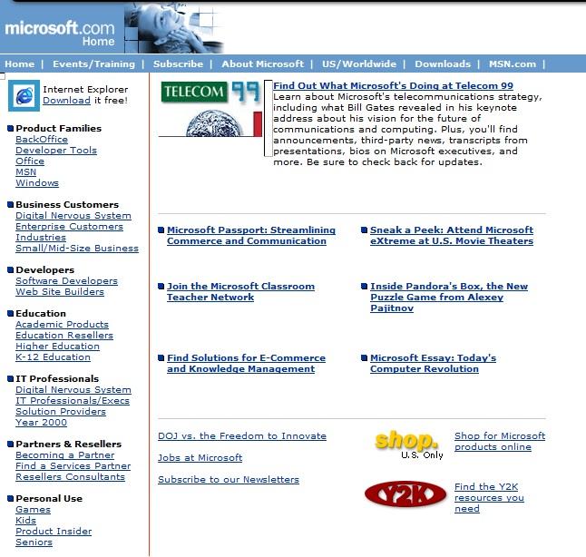 Die Microsoft Website - ebenfalls 1998