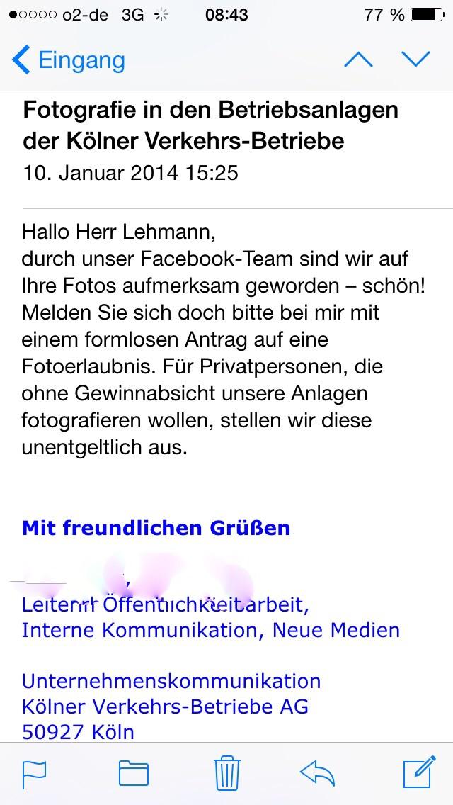 Mail der KVB - Name der Mitarbeiterin entfernt.